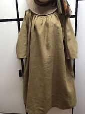 Veritecoeur Japan OS Linen Brown Mustard 2 Way Workwear Smock Dress One Size