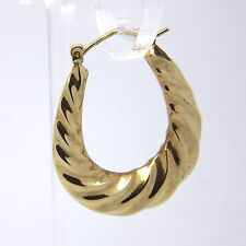 9ct Yellow Gold Fancy Hoop Earrings - 30 x 25mm