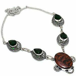"""Mahogany Obsidian, Peridot Ethnic 925  Silver Jewelry Necklace 18"""""""