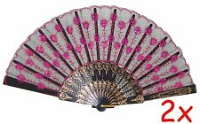 2x Chinese Assorted Colors Party Gift Lace Floral Hand Held Folding Fans USeller