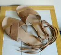 Sole Diva Real Suede Leather Lace-u Sandals Summer Holiday Shoes Size UK 8 41 E