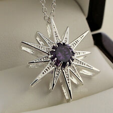"Stunning 925 Stamped Sterling Silver Amethyst Star Pendant 18"" Chain Necklace"