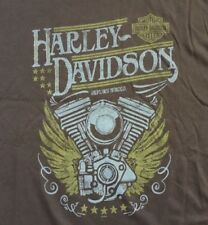 Harley Davidson Winged Engine Brown Shirt Nwt Men's XXL
