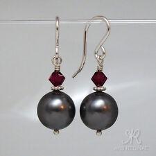 """● 10mm ● SC Perlen Ohrringe schwarz & rubin ÖKO """"grünes"""" Silber ● Anlaufschutz"""