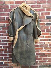 VIVIENNE WESTWOOD FAUX 'SHEARLING' WRAP KANYE WEST LONG COAT GREEN 8 M RARE!
