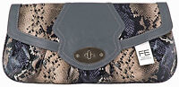 FASHION ESSENTIALS Faux Snake Clutch Bag in Grey. Brand New with Tags.