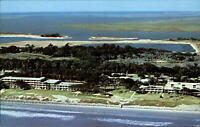 Buccaneer Motor Lodge ~ Jekyll Island Georgia ~ 1960s vintage aerial postcard