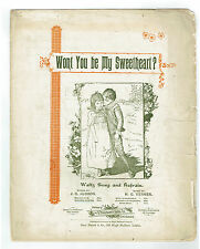 1893 WONT YOU BE MY SWEETHEART Waltz Song Sheet Music by Verner Words by Judson