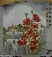 RED Poppies & Buds & Church in Country - Unstitched Tapestry RICO (New) RRP $60