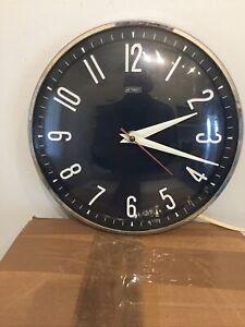 Vintage/ Retro Metamec Black Face  Wall Clock - Plug In Electric - Working