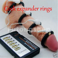 Penis Stretcher Electronic 4 Rings Pulse Machine Extender Enhancing Real man Toy