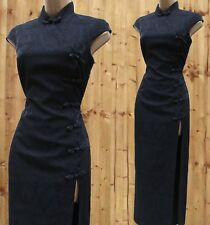 SZ 8 UK KAREN MILLEN Black Oriental Chinese Jacquard Wool Blend Long Maxi Dress