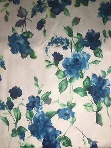 FQ Blue Painted Roses Textured Cotton Fabric