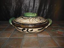 Tlaquepaque Mexican Folk Art  Pottery Covered Casserole Dish Mexico RARE 20-30's