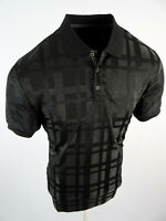Men Polo Shirt Black Plaid Jacquard Semi-Transparent Material Slim Fit Stretch