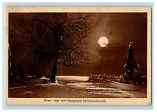 1914-18 WWI German Paul Petrowitz Monument Moon Christmas Winter Postcard P20