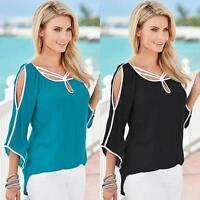 Women's Casual Loose Long Sleeve Chiffon Blouse T Shirt Off-shoulder Blouse Tops