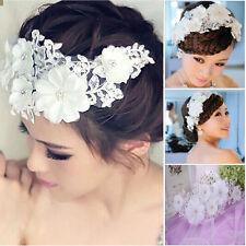 Lace Flower Pearl Rhinestone Wedding Bridal Hair Headband Applique Headdress New
