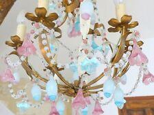 OMG Antique Tole Chandelier RARE Opalescent Opaline drops Flowers 1950 MURANO
