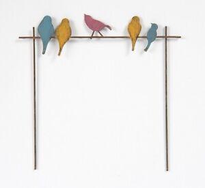 Mini metal birds on wire rustic metal pick stake fairy garden decor