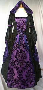 Medieval Dress With Hood Gothic Dress Halloween Dress Custom Made to size