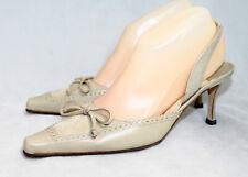 MANOLO BLAHNIK Slingback Kitten Heel Bow Sandal Women 6.5 Eur 38 Beige Leather