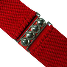 RETRO ELASTICATED WIDE WAIST PLAIN RED BELT - 80's style Silver Buckle 10 -18