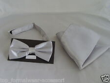 Shiny SILVER Polyester Bow Tie and Hanky Set > Matching Cummerbund are Available