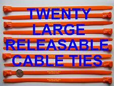 """LARGE RELEASABLE CABLE TIE STRAPS, HELLERMANN TYTON, 10"""" LONG, 20 PIECES"""