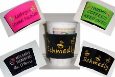 PERSONALIZED embroidered COFFEE CUP KOOZIE Holder ~ so many designs!!!