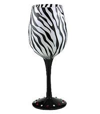 Zebra Painted Wine Glass