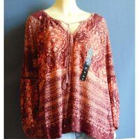 Lucky Brand 2X NWT Red Rust Bandanna Print  Knit Tassel Tie Peasant Top