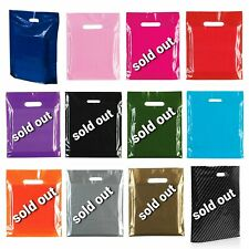 More details for 100 coloured plastic bags strong patch handle boutique gift shop retail carrier