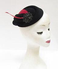 Red Black Feather Pillbox Hat Headpiece Statement Hair Fascinator Vintage 2224