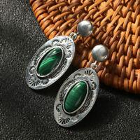 """Handmade Malachite Jasper Gemstone 925 Sterling Silver Stud Elegant Earrings 2"""""""