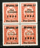 Ecuador Stamps # 68A VF OG NH double ovpt block of 4