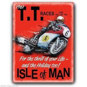 SIGN METAL PLAQUE - TT RACES ISLE OF MAN Vintage Retro poster art print
