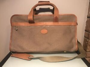 Christian Dior Vintage Travel Bag with Strap Luggage Tweed And Leather Trim