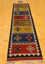 Hand Woven Wool Rug Runner Kilim Dhurrie Turkish Oriental Area Rug 2.6'X10' ft