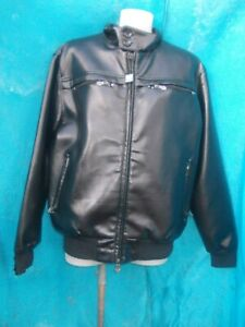 REPORTAGE R.E.A MENS BLACK FAUX LEATHER, LINED & PADDED BOMBER JACKET-SZ L BNWOT