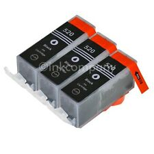 3 Tintenpatronen CANON + Chip PGI-520 bk PIXMA IP 4600 IP 4700 NEU