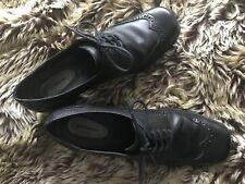 Black Lace Up Leather Brogue Shoes With Chunky Heel Croft & Barrow US8 UK6 / 5.5