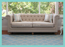 **CLEARANCE SALE!!** NEW Beige Linen French Buttoned Linen Chesterfield Sofa