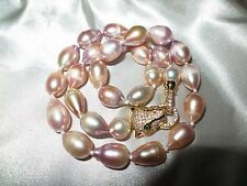 Lovely cultured freshwater 11-12mm rainbow lilac  pearl necklace panther clasp