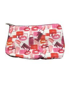 Clinique Makeup Bag Cosmetic Zip Pouch Pink Lipstick Lips Kiss FREE SHIPPING