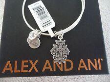 ALEX and ANI ARMENIAN CROSS IV Russian Silver Charm Bangle New W/Tag Card & Box