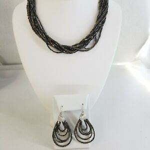 Premier Designs Multi-Strand Torsade Necklace Earrings Iridescent Glass Bugle