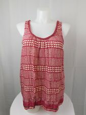 Lucky Brand Plus Size Sleeveless Tribal Print Tank Top 1X Red #5028