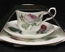 ROY KIRKHAM REDOUTE ROSE Fine Bone China Small Cup, Saucer & Dessert Plate Trio