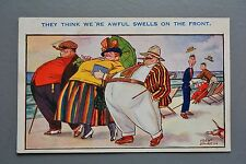 R&L Postcard: Art and Humour Seaside 707 Fred Spurgin Obese Man Woman Cigars